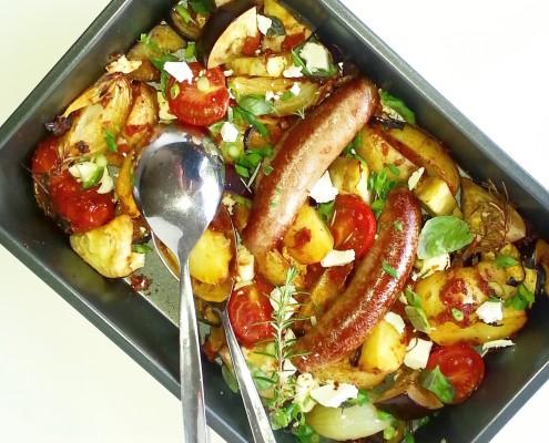 Aardappelschotel met aubergine