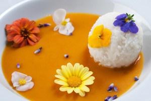 pompoensoep met rijst en bloombites