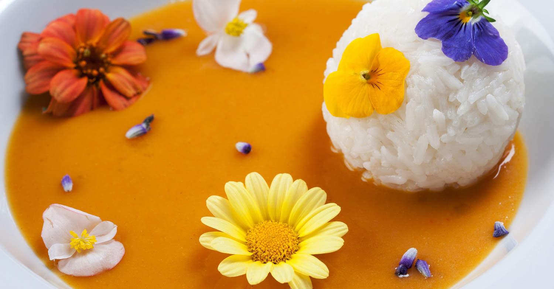 pompoensoep met bloombites en rijst
