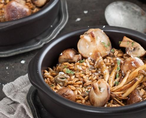 Speltrisotto met paddenstoelen