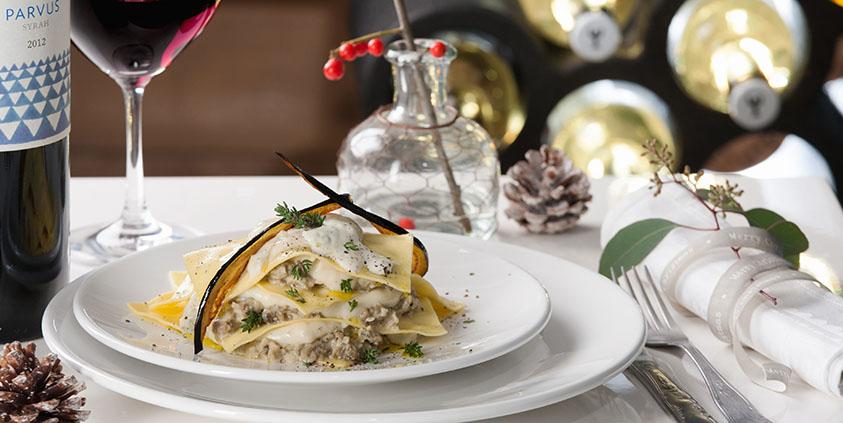 open aubergine lasagna