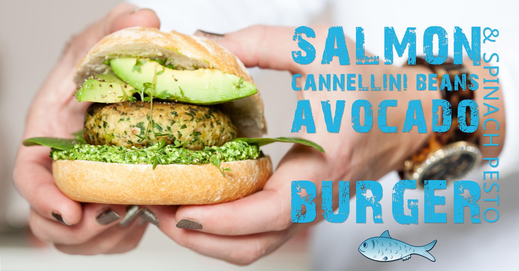 visburger van zalm met avocado en spinazie pesto