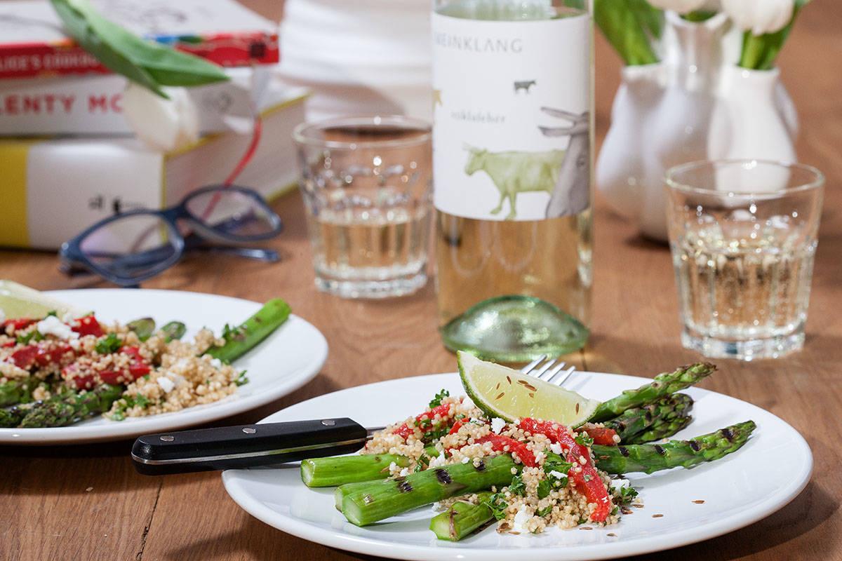 groene asperges met quinoa salade