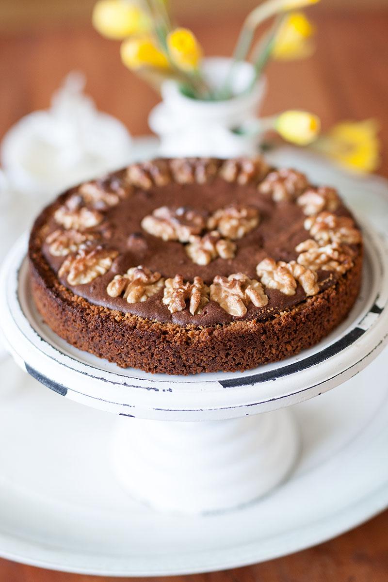 brownie taart met walnoten