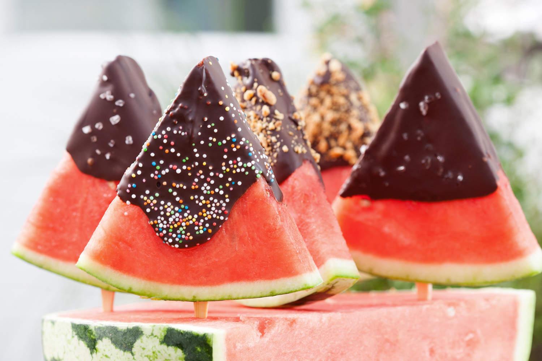 Watermeloen met chocodip