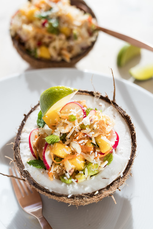 Rijstsalade met kip en mango