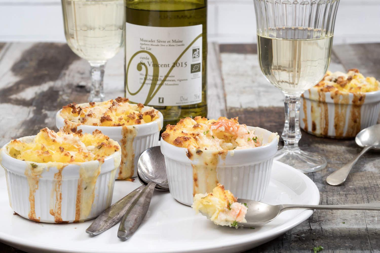 Mini vis taartjes met Saint-Vincent Cuvée Muscadet Sevre et Maine