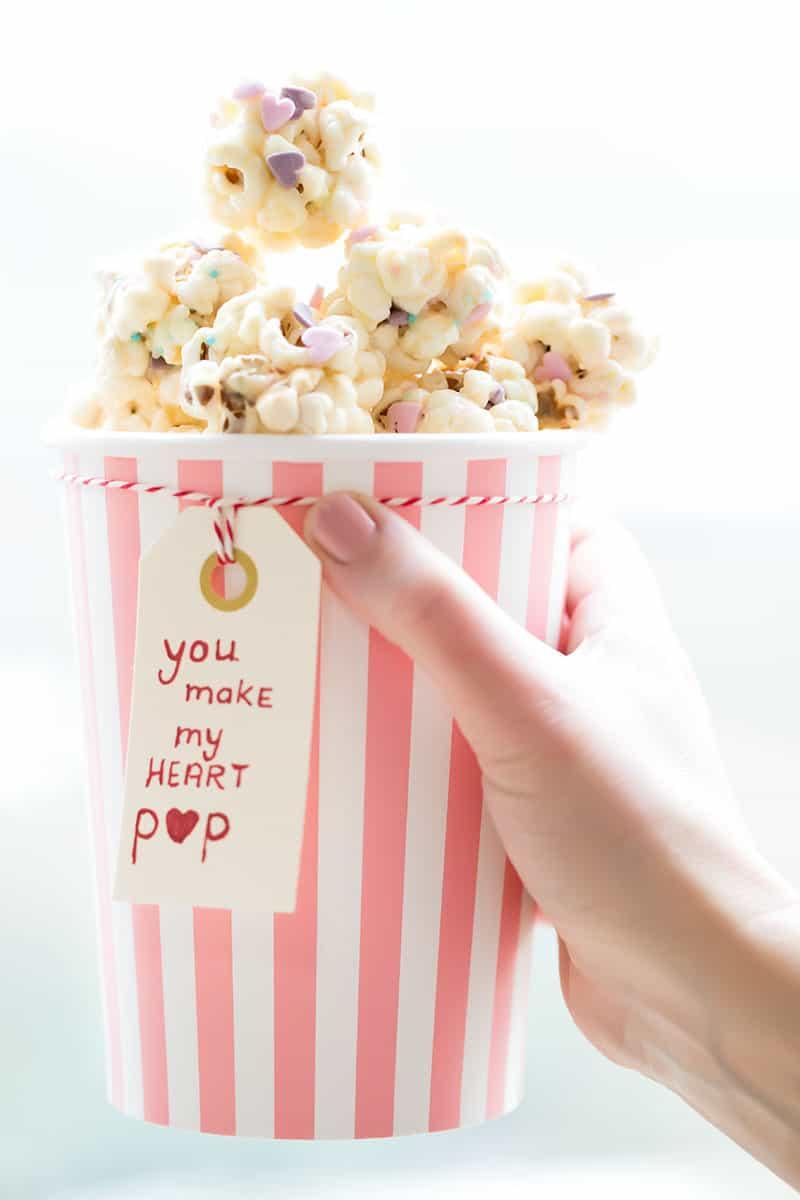 Popcorn Snack, witte chocolade met marshmallow
