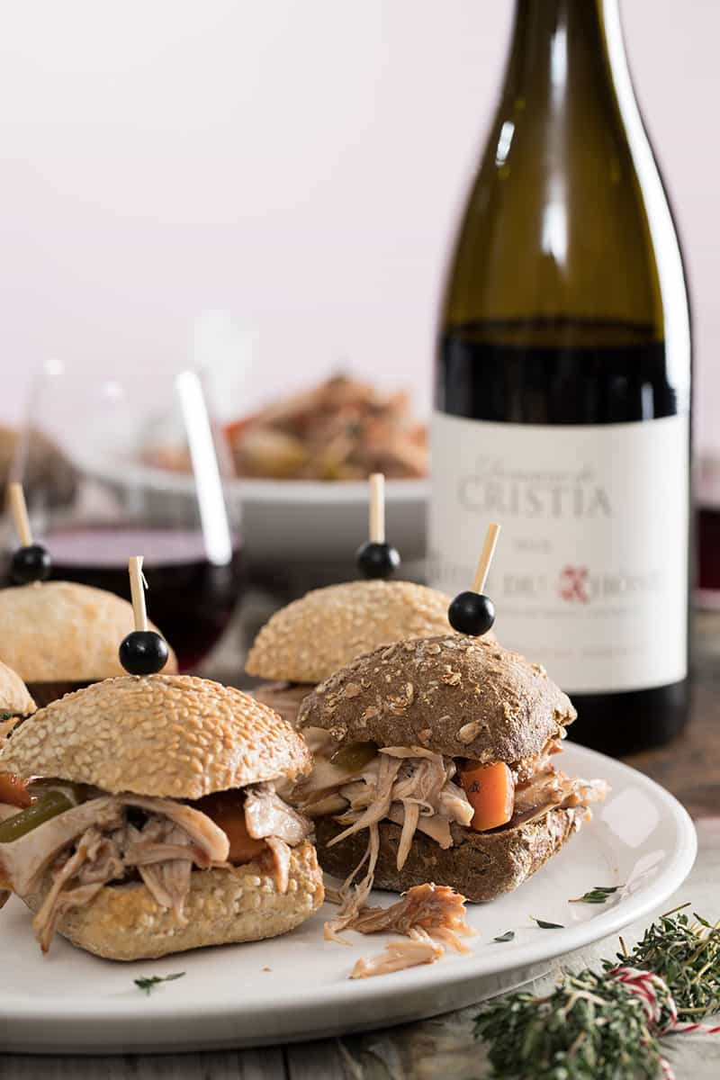 Pulled coq au vin sliders