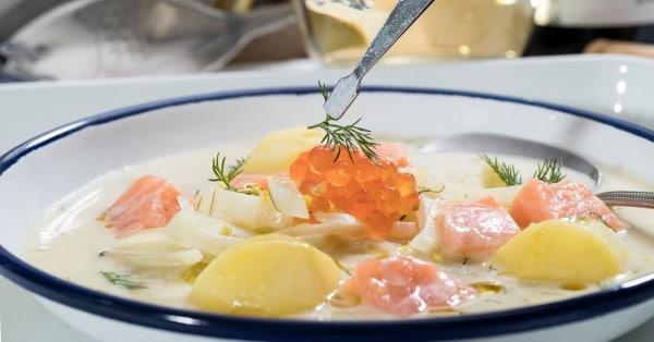 Venkelsoep met aardappel en zalm Lekker romig
