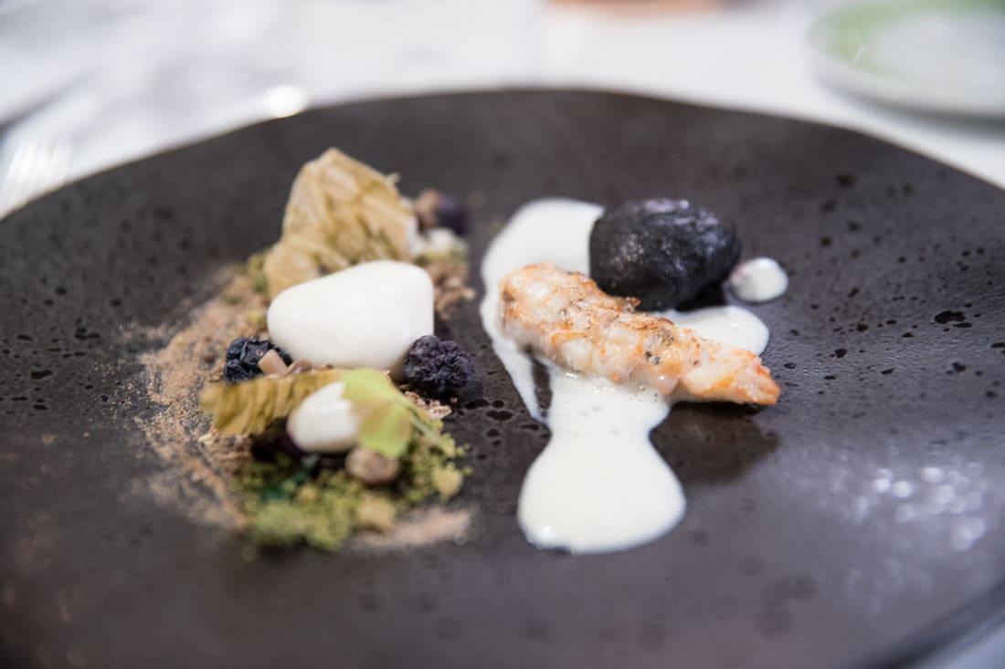 Scandinavische langoustine met aardpeer, mos en jeneverbes De Kromme Dissel
