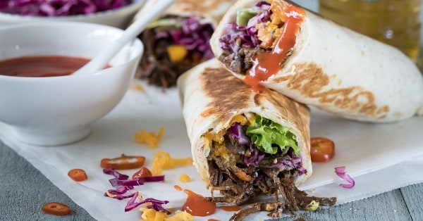 pulled beef wraps