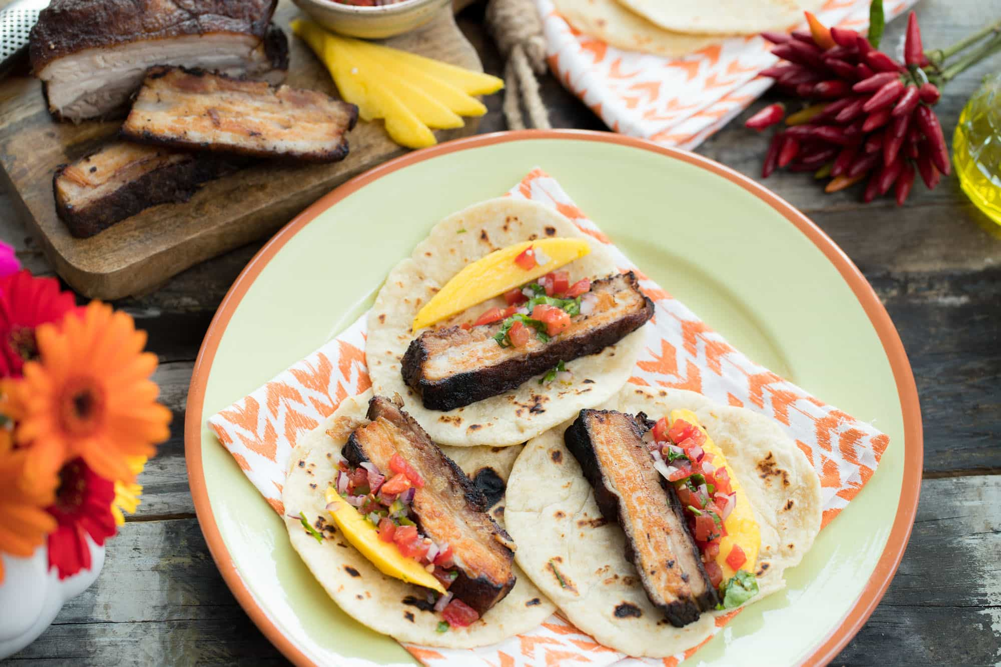 taco meats pork - home made tortilla met mango en pico de gallo 13