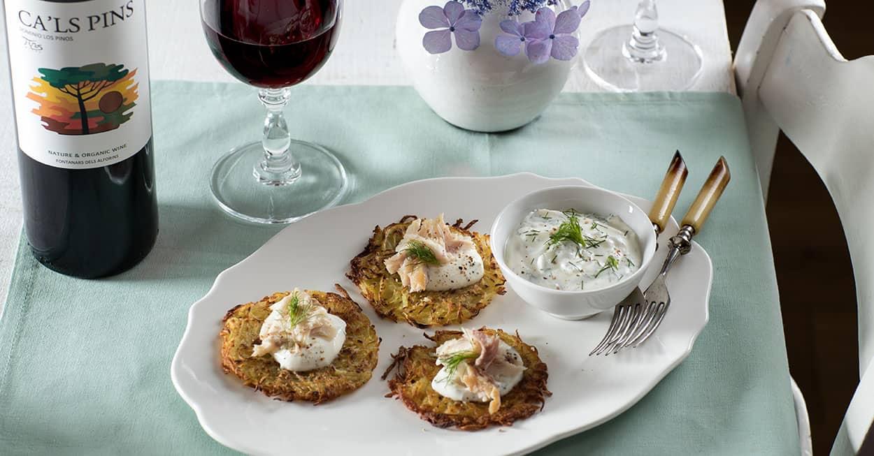 Aardappelkoekjes met forel en dille
