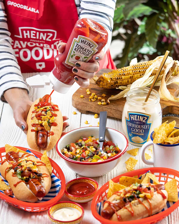 Pittige Mexicaanse Hotdog met maissalsa, Heinz ketchup & Seriously Good Mayonaise