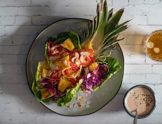 Salade Hawaï met kokos dressing