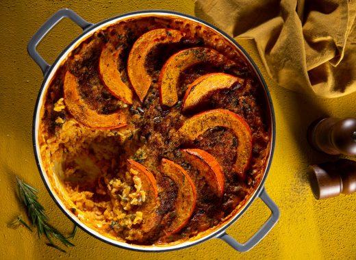 Pompoenrisotto uit de oven